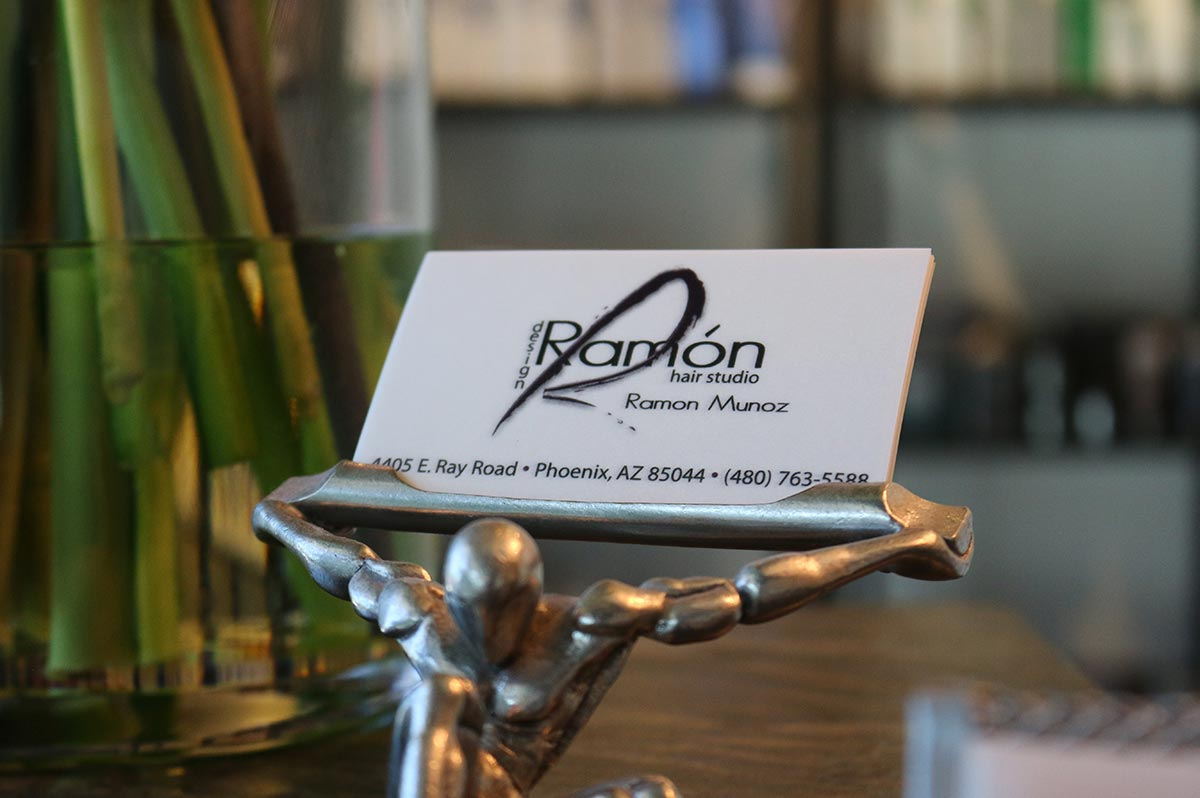 Business card at Design Ramon Hair Studio in Ahwatukee | 480 763 5588